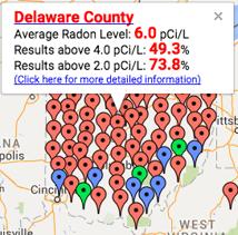 Radon Levels in Delaware County